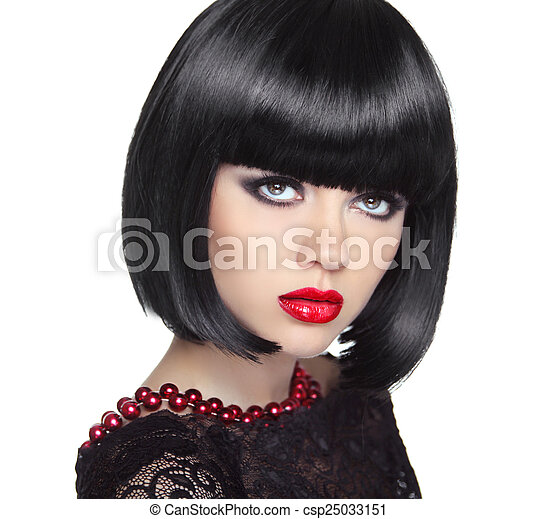 Beautiful Woman With Black Short Hair. Haircut. Hairstyle. Fring - csp25033151