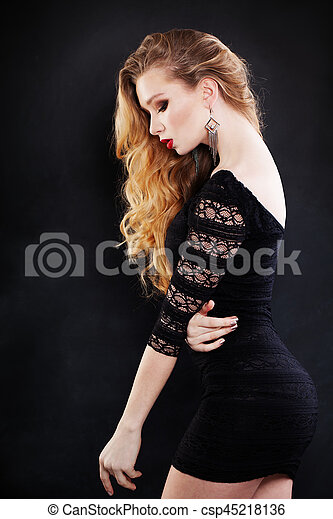 Beautiful Woman With Blonde Curly Hairstyle Wearing Black Dress