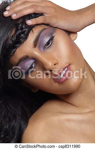 beautiful woman with braid. - csp8311990
