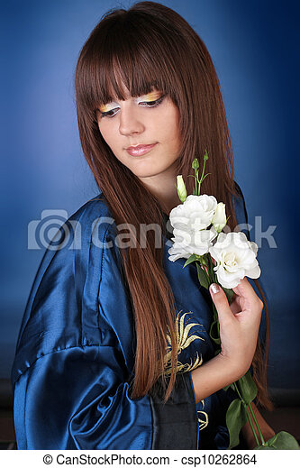 Beautiful Woman with Brown Healthy Long Hair - csp10262864