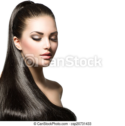 Beautiful woman with brown long healthy smooth hair - csp20731433