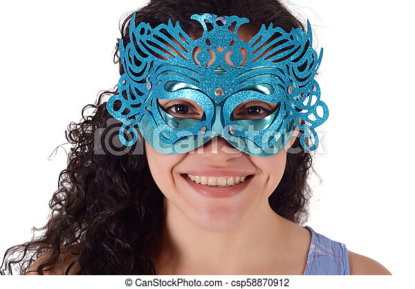 beautiful woman with carnival mask - csp58870912