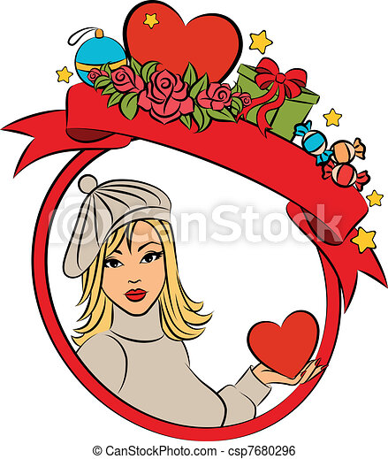beautiful woman with Christmas gift - csp7680296