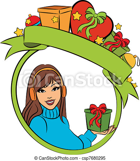 beautiful woman with Christmas gift - csp7680295