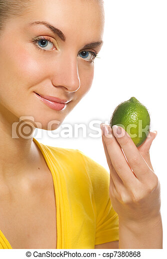 Beautiful woman with citrus isolated on white background - csp7380868