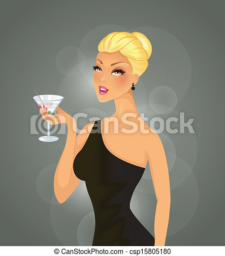 Beautiful woman with cocktail - csp15805180