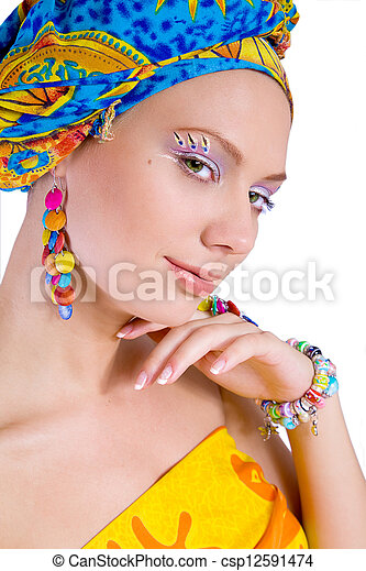 beautiful woman with colourful accessories - csp12591474