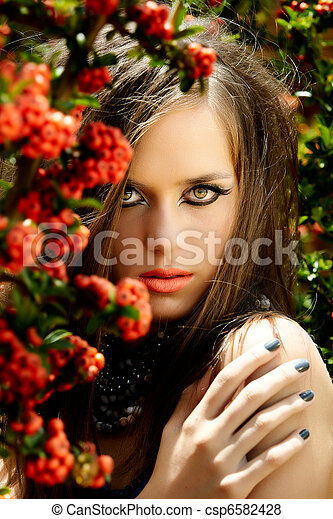 beautiful woman with coral lips - csp6582428