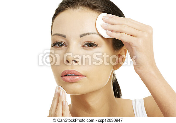Beautiful woman with cotton pad - csp12030947