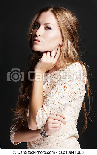 Beautiful woman with evening make-up. - csp10941068