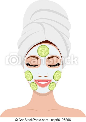 Beautiful Woman With Facial Mask Of Cucumber Slices On Face Spa Beauty And Health Concept Vector Illustration In Flat Style