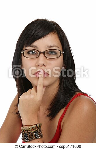 Beautiful Woman with Finger to Lips - csp5171600