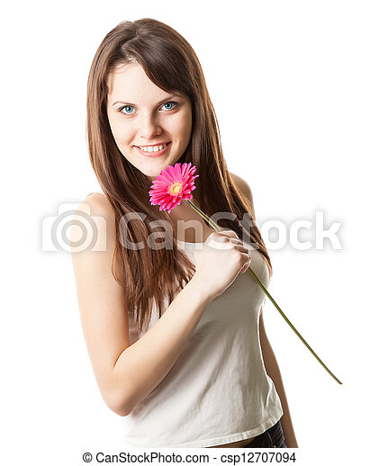 Beautiful woman with flower in a studio - csp12707094