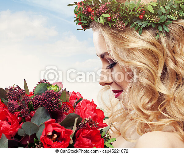 Beautiful Woman with Flowers - csp45221072