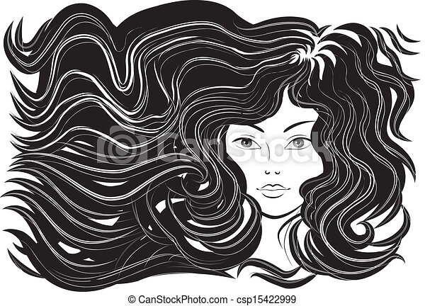 beautiful woman with flowing hair - csp15422999