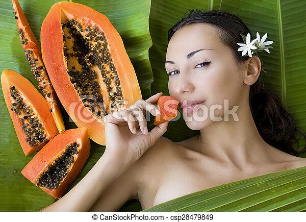 Beautiful Woman With Fresh Papaya
