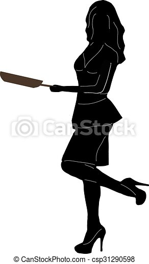beautiful woman with frying pan isolated on white background. Vector - csp31290598