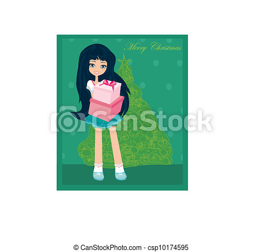 beautiful woman with gift box - csp10174595