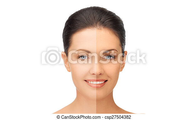 beautiful woman with half face tanned - csp27504382