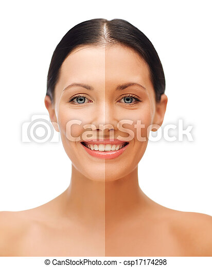 beautiful woman with half face tanned - csp17174298