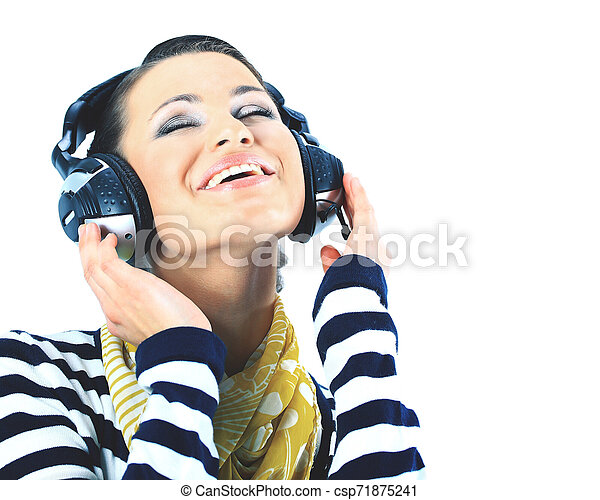 Beautiful woman with headphones. Isolated on a white - csp71875241