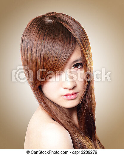Beautiful Woman with Healthy Brown Hair - csp13289279
