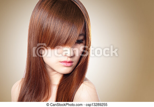Beautiful Woman with Healthy Brown Hair - csp13289255