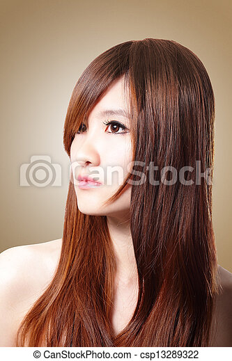 Beautiful Woman with Healthy Brown Hair - csp13289322