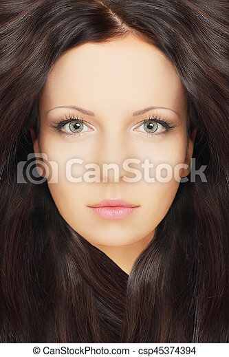 Beautiful woman with healthy hair, beauty salon background - csp45374394