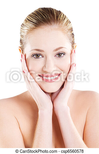 beautiful woman with healthy skin - csp6560578
