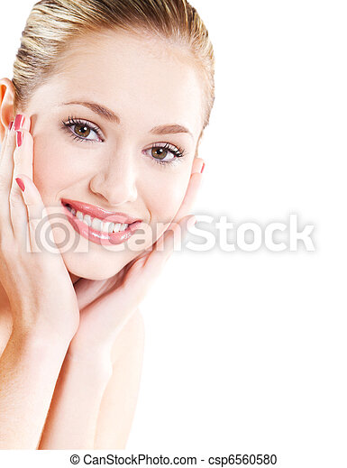 beautiful woman with healthy skin - csp6560580