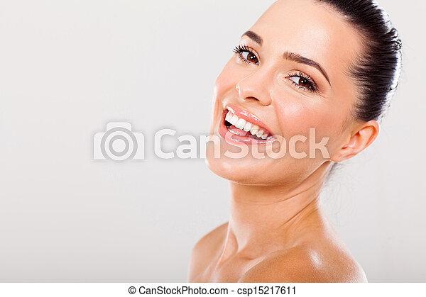 beautiful woman with healthy teeth - csp15217611