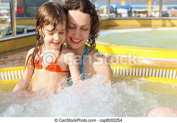 beautiful woman with her daughter is relaxing in hot tub on cruise ship. - csp8002254