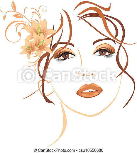 Beautiful woman with lilies in hair - csp10550680