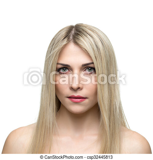 Beautiful woman with long straight blond hair. - csp32445813