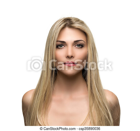 Beautiful woman with long straight blond hair. - csp35890036