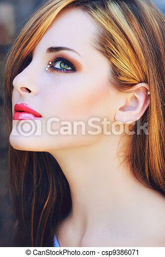 beautiful woman with pink lips - csp9386071