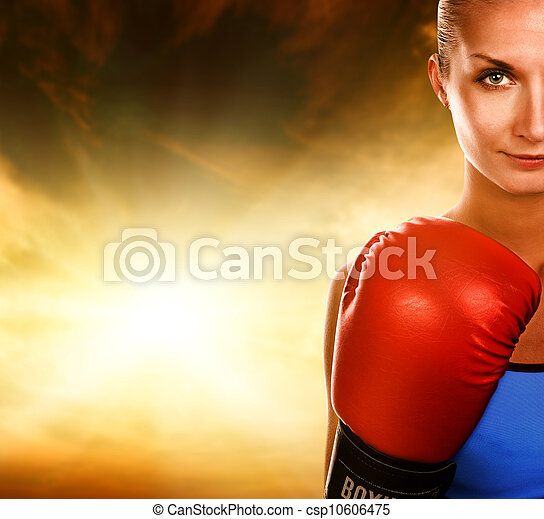 Beautiful woman with red boxing gloves - csp10606475