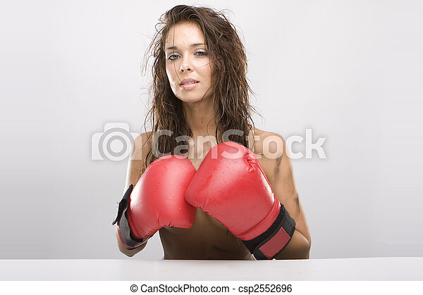 Beautiful woman with red boxing gloves - csp2552696
