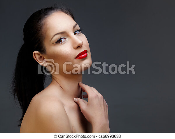 beautiful woman with red lipstick - csp6993633