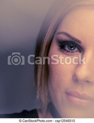 Beautiful woman with rosebud  - csp12549310