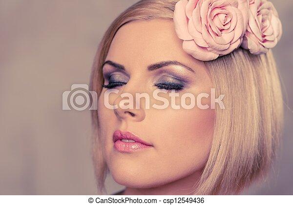 Beautiful woman with rosebud  - csp12549436