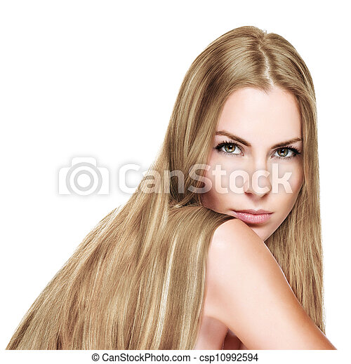Beautiful Woman with Straight Long  blond Hair - csp10992594