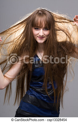 Beautiful Woman with Straight Long Hair - csp13328454
