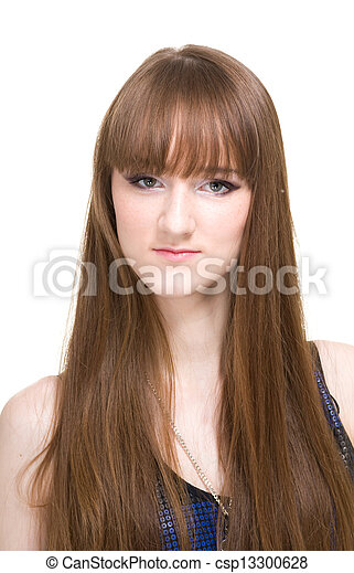 Beautiful Woman with Straight Long Hair - csp13300628
