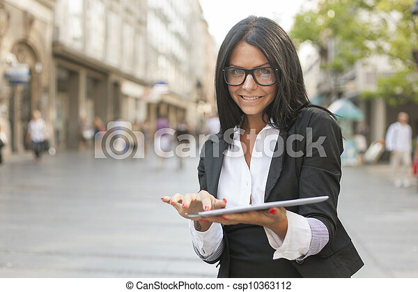 Beautiful Woman With Tablet Computer - csp10363112