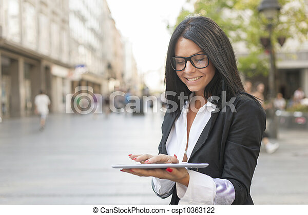 Beautiful Woman With Tablet Computer - csp10363122