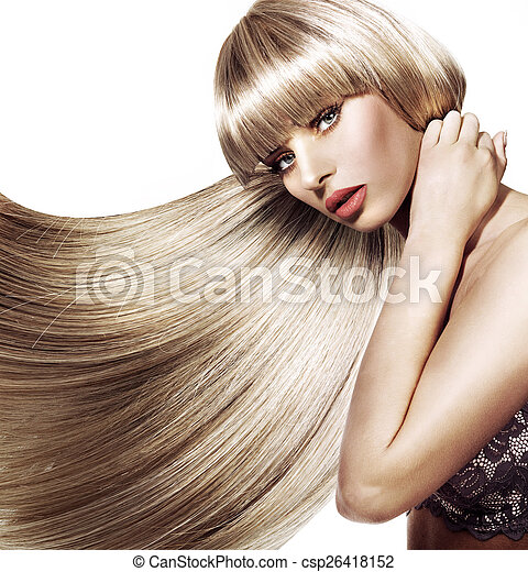 Beautiful woman with trendy hairstyle - csp26418152
