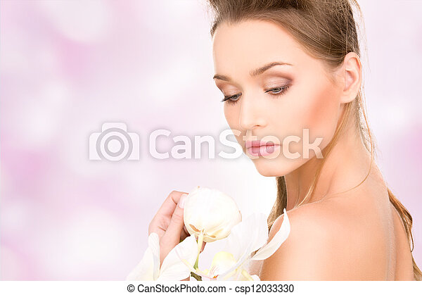 beautiful woman with white flower - csp12033330
