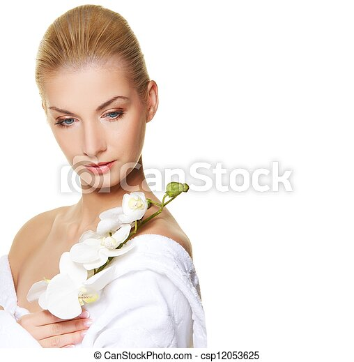 Beautiful woman with white orchid flower - csp12053625